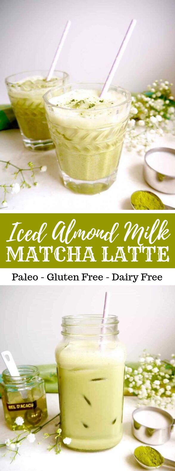 Iced Almond Milk Matcha Latte (Paleo, GF) #drinks #dairyfree