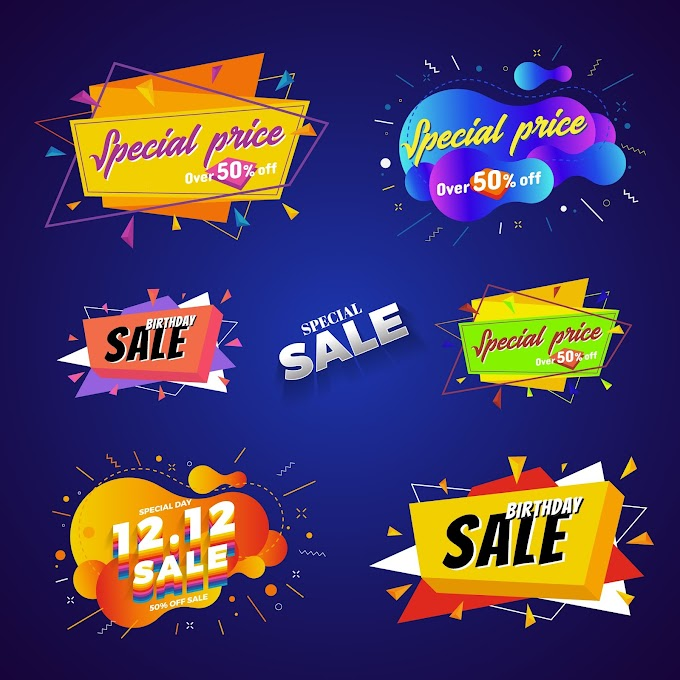 Special price sale banner abstract design. Free Vector Download