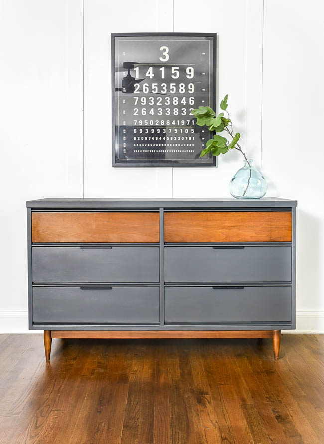Dark gray and wood painted mcm dresser