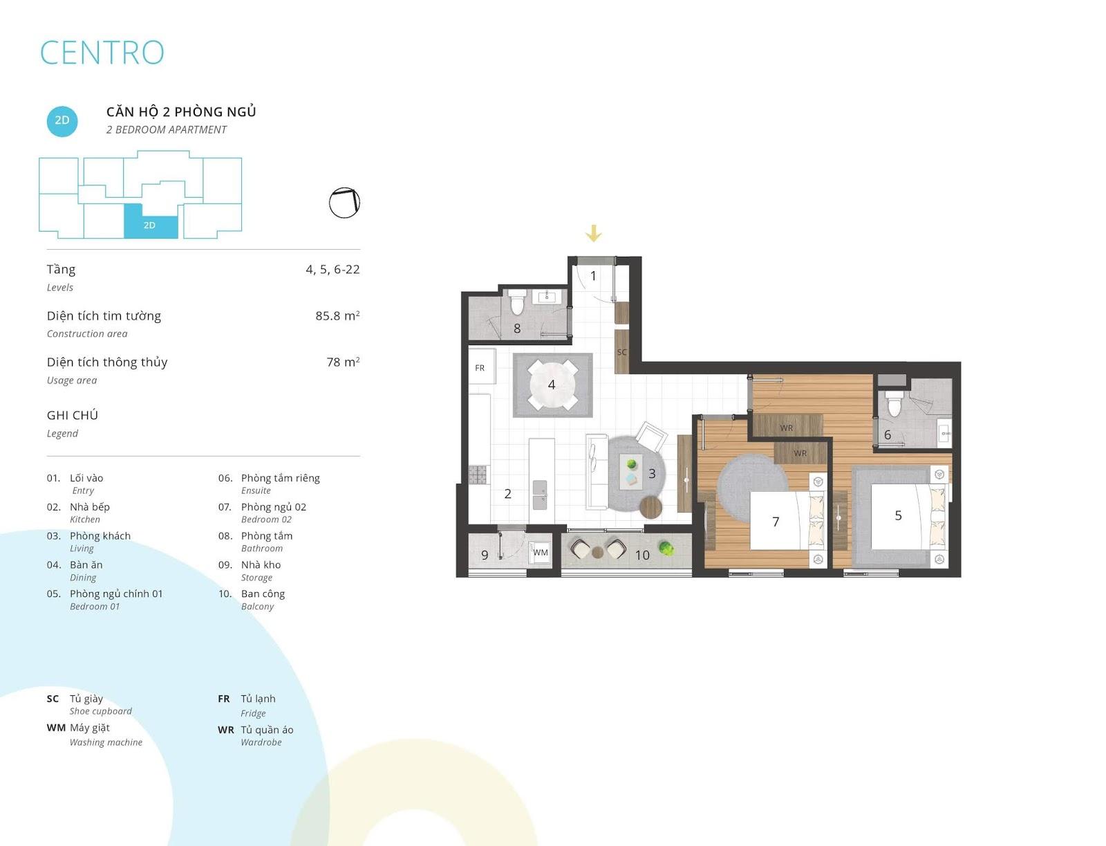 Mặt bằng căn hộ 2 phòng ngủ 78 m2 thông thủy tòa CENTRO