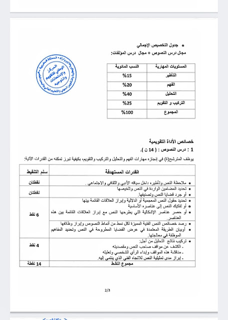 الإطار المرجعي لمادة اللغة العربية وآدابها