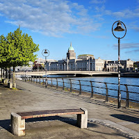 Pictures of Dublin under lockdown: path along the River Liffey