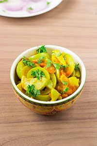sabzi apple gourd tomato vegan side
