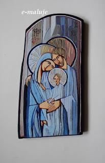 Błękitna Święta Rodzina … Ikona Autorska Modlitwą Pisana