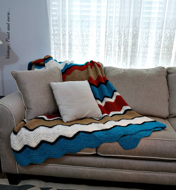 Crochet ripple afghan done in tribal colors