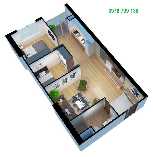 Căn hộ 55 m2 dự án Eco Green City