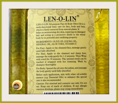 Ingredients, Other Details Of Lenolin Olive Oil
