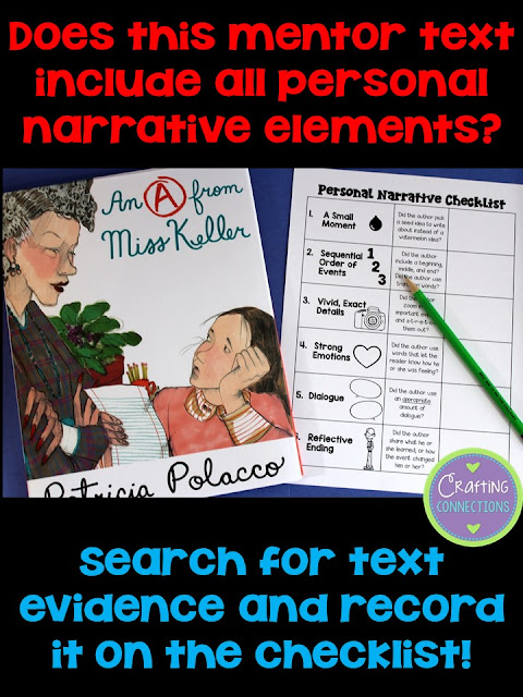 Strong Personal Narratives: A Mentor Text Writing Lesson! After reading aloud the book, you and your students can work together and find text evidence to support each element!