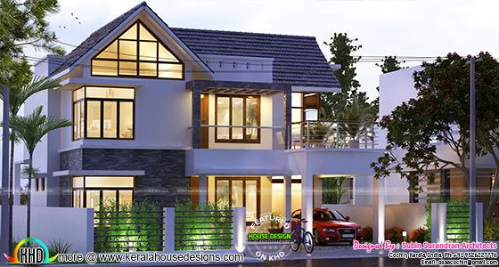 4 BHK 2200 sq-ft sloped roof house