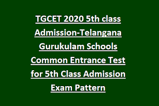TGCET 2020 5th class Admission-Telangana Gurukulam Schools Common Entrance Test for 5th Class Admission Exam Pattern