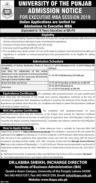 University Of The Punjab Lahore Admissions Notice
