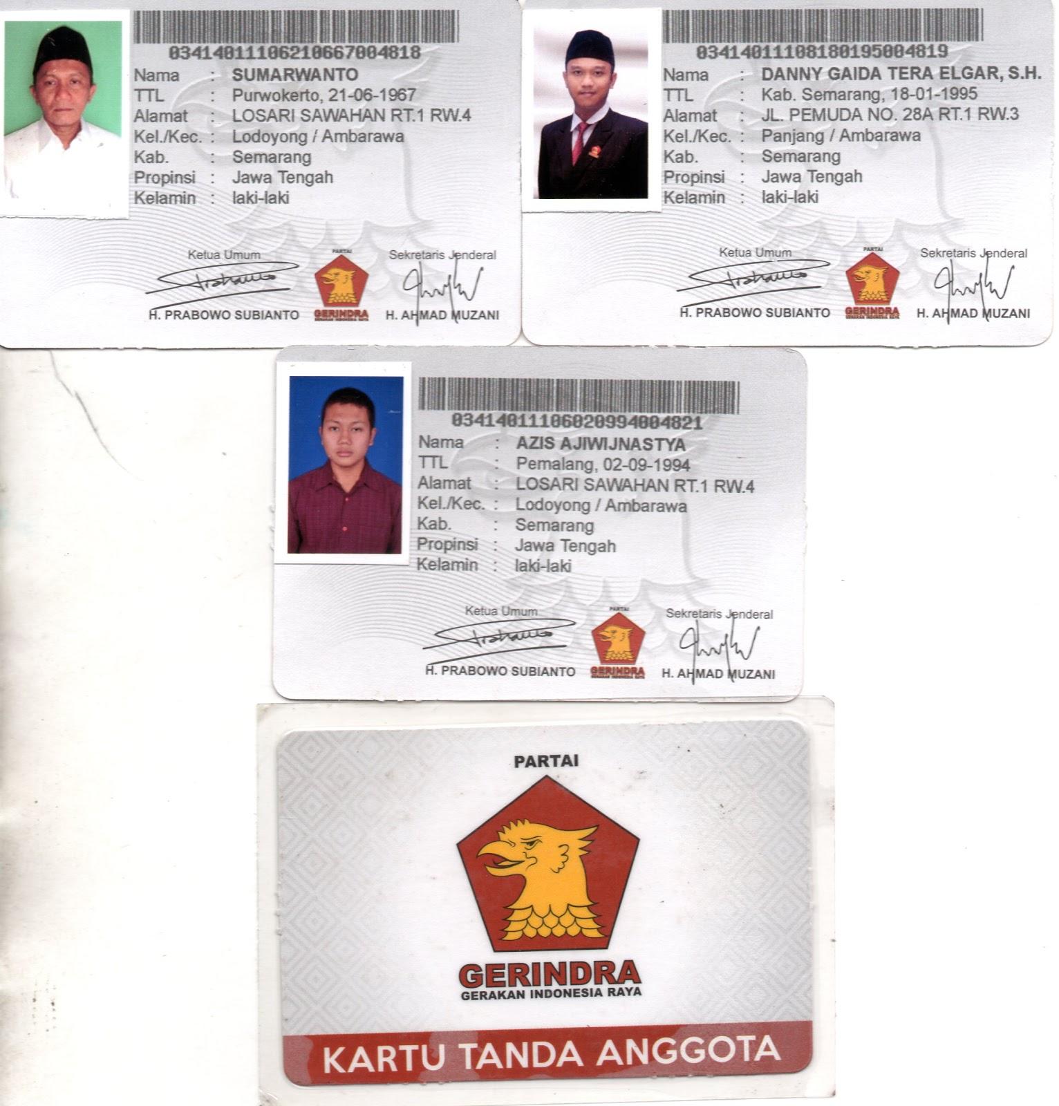 Kartu Tanda Anggota (KTA) Partai Gerakan Indonesia Raya (Gerindra) Pimpinan Anak Cabang (PAC) Kecamatan Ambarawa, Kabupaten Semarang, Jawa Tengah, Indonesia.