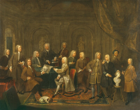 Photograph of a painting entitled 'A Conversation of Virtuosis...at the Kings Arms' by Gawen Hamilton 1735, copyright of The National Portrait Gallery and used on this site under Creative Commons BY-NC-ND 3.0