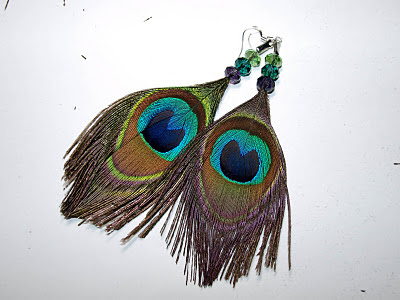 image tutorial diy earrings peacock feather turquoise blue green brown cook love craft