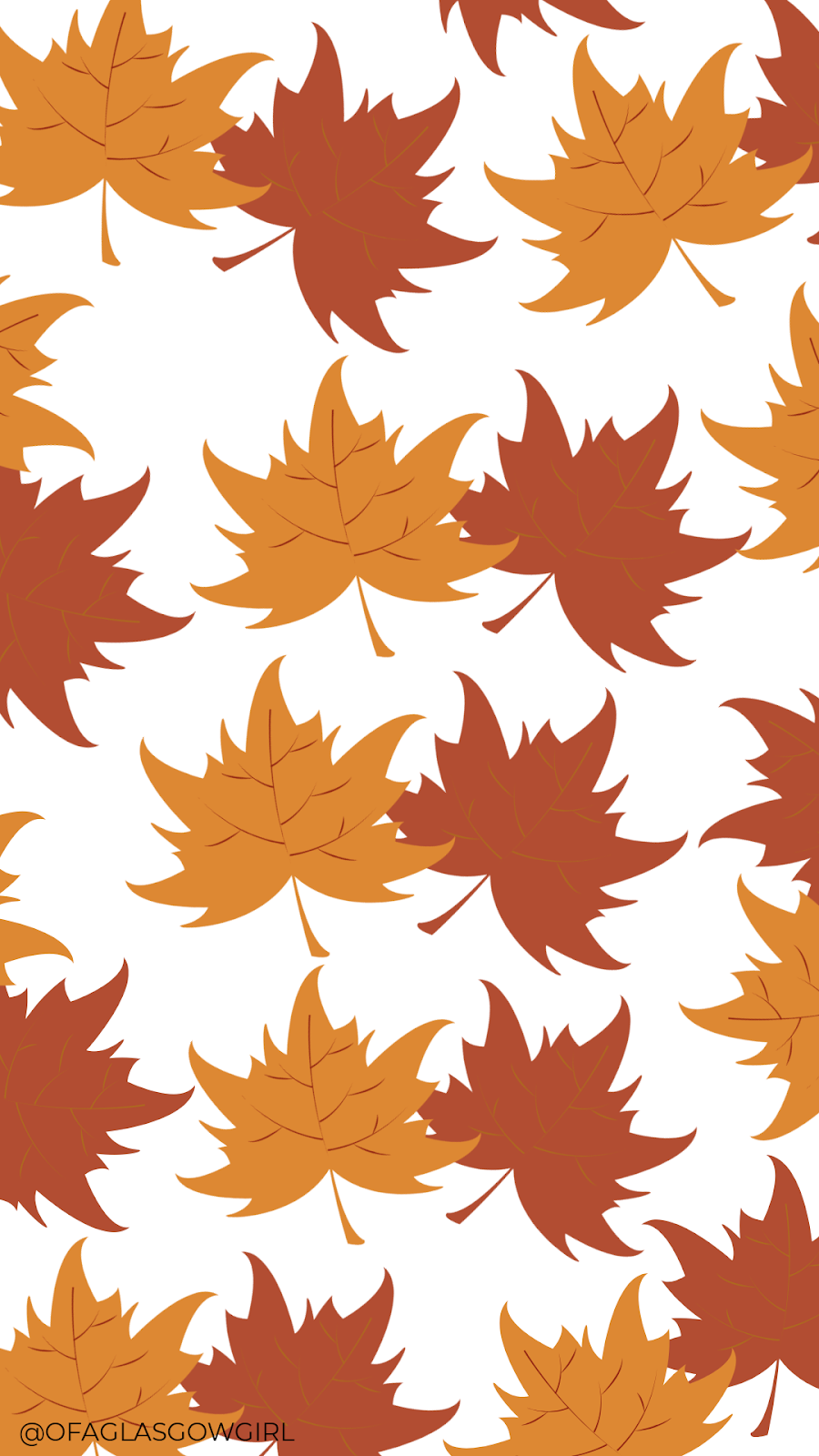 Autumn phone wallpaper or instagram template with a repeated pattern of leaves on it.