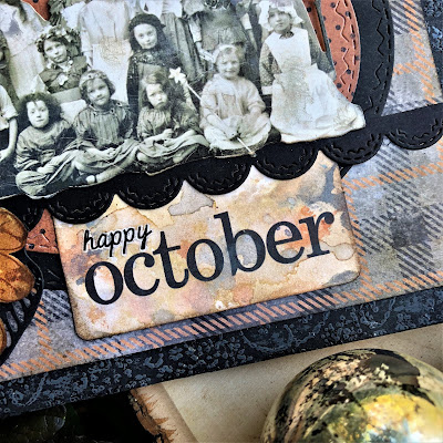 Sara Emily Barker https://sarascloset1.blogspot.com/2018/10/happy-october.html Tim Holtz Stampers Anonymous Sizzix Alterations Ideaology Halloween Autumn Card 3