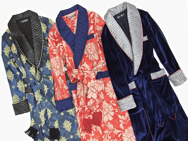 Mens paisley silk robe quilted dressing gown velvet smoking jacket