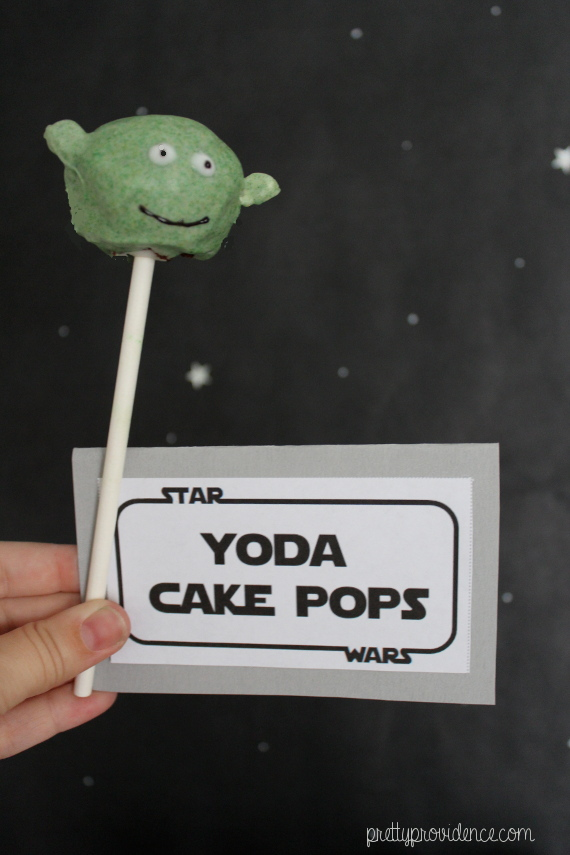 yoda cake pops | star wars themed party, food, decor and kids games on pretty providence