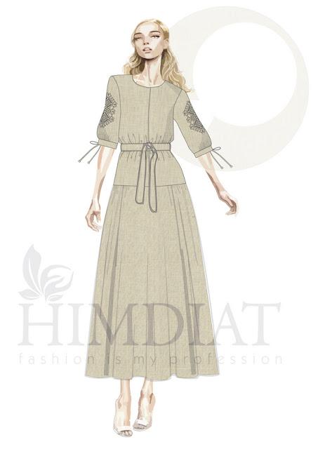 Платье женское. Модель PL-389/Panteriart/ Авторская коллекция женской одежды Nadia Himdiat. Платье в этническом стиле из льна с вышивкой.  Сезон: осень-зима