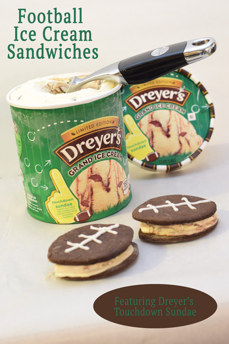 Dreyer's Touchdown Sundae makes the perfect football shaped ice cream sandwiches. Looking for a fun party for your teenage boy? Why not throw a Football video game party? Easy ideas for how to entertain kiddos during the Big Game. Features DiGiorno pizza, personalized football cups, free printable lanyards, and an incredible recipe for football shaped ice cream sandwiches! #GameTimeMVP #CollectiveBias #ad