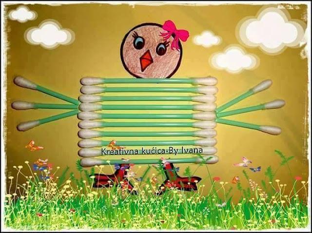 Ide membuat kreasi berbentuk anak ayam menggunakan cottonbud untuk anak-anak
