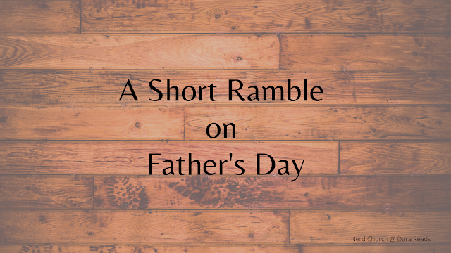 'A Short Ramble on Father's Day' against a wooden floor background, complete with mucky boot prints
