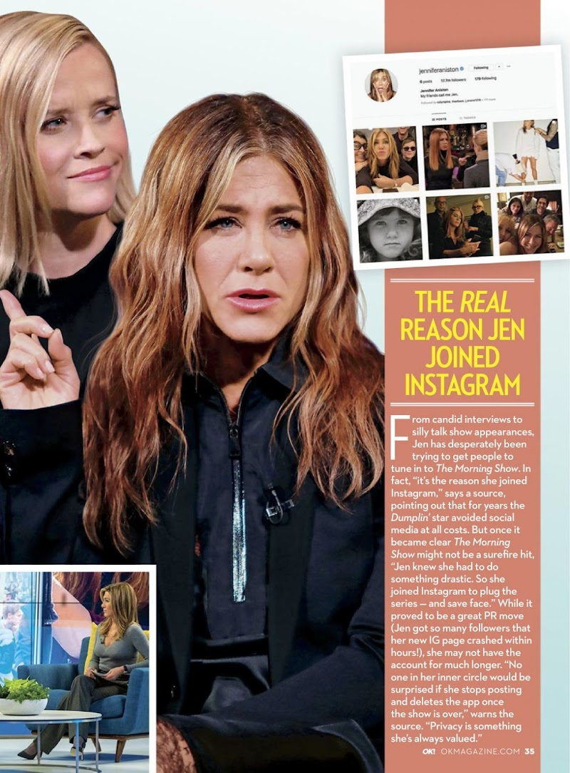 Jennifer Aniston and Reese Witherspoon Featured in Hollywood Reporter and OK Magazine Nov -2019