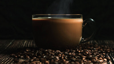Coffee beans, drink, steam, cup, coffee