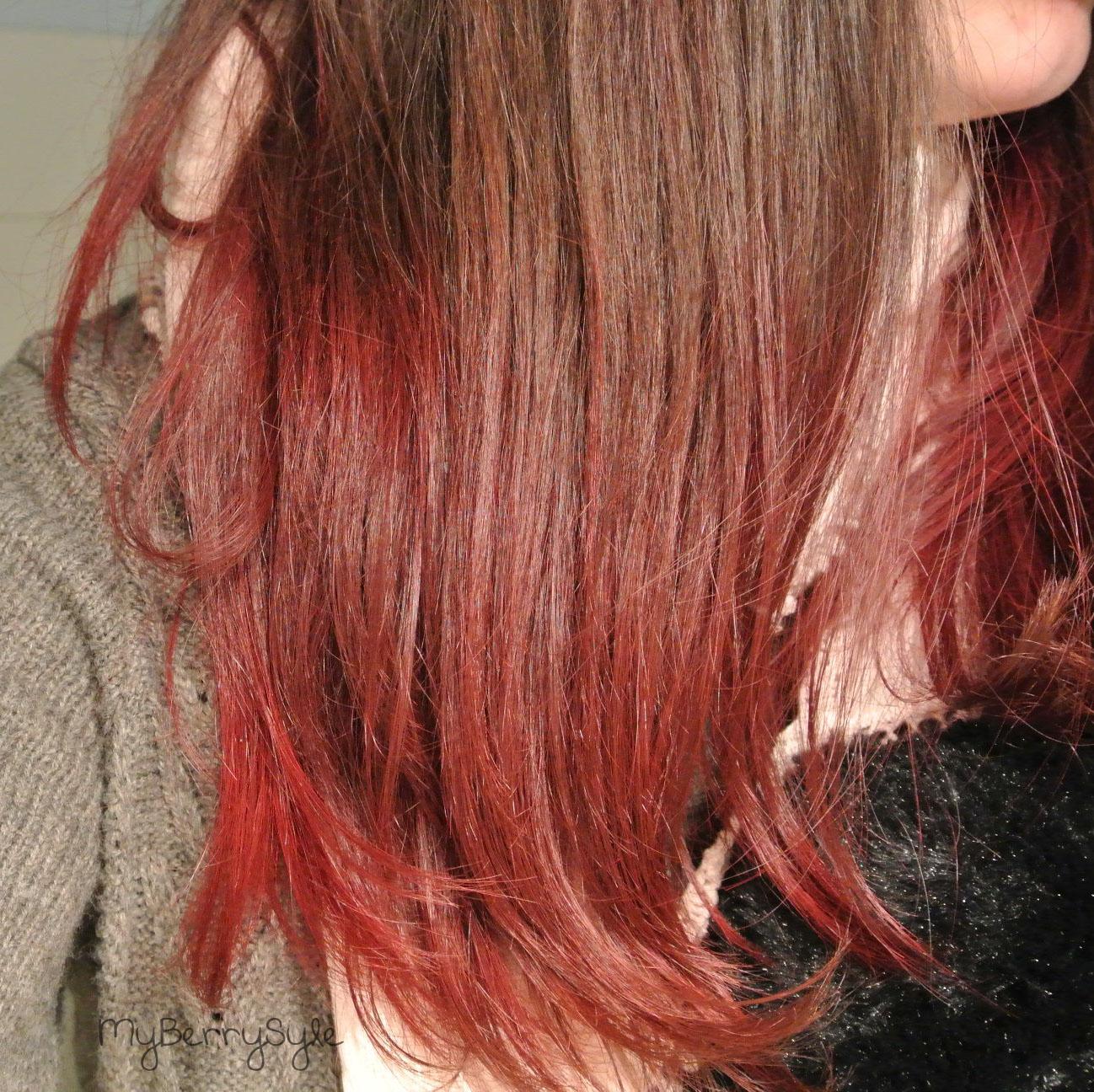 tie and dye rouge sur mes cheveux chatain foncé avec crazy color
