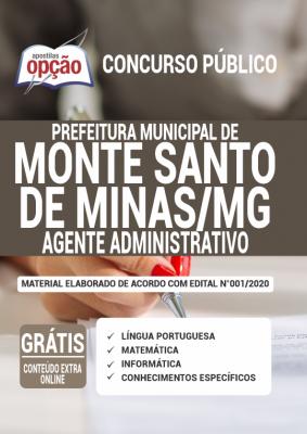 A Apostila Prefeitura de Monte Santo de Minas - MG em PDF - Agente Administrativo - 2020 foi elaborada de acordo com o Edital 001/2020 do concurso, por professores especializados em cada matéria e com larga experiência em concursos.