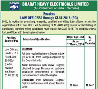 BHEL Law Officer E1 Level Recruitment 2018 Apply Online