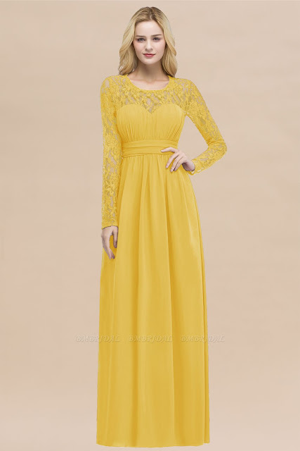 Long Sleeves Lace Bridesmaid Dress