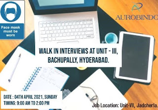 Aurobindo Pharma Limited Required ITI, Diploma, BSc, B Pharm & M Pharmacy Candidates by Walk In Interviews On 04th April 2021