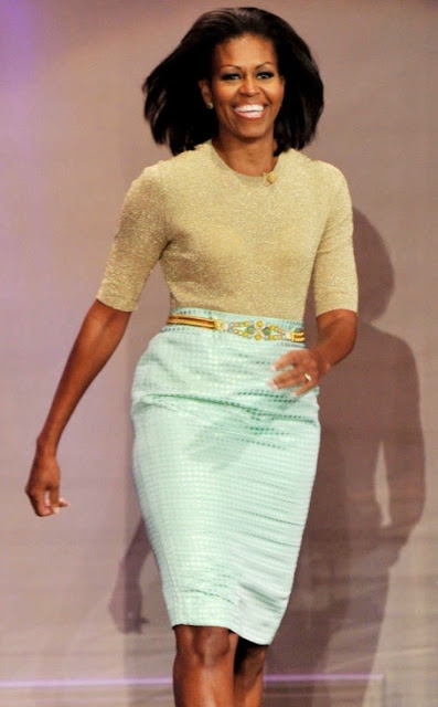 Michelle Obama in J. Crew pencil skirt and blouse