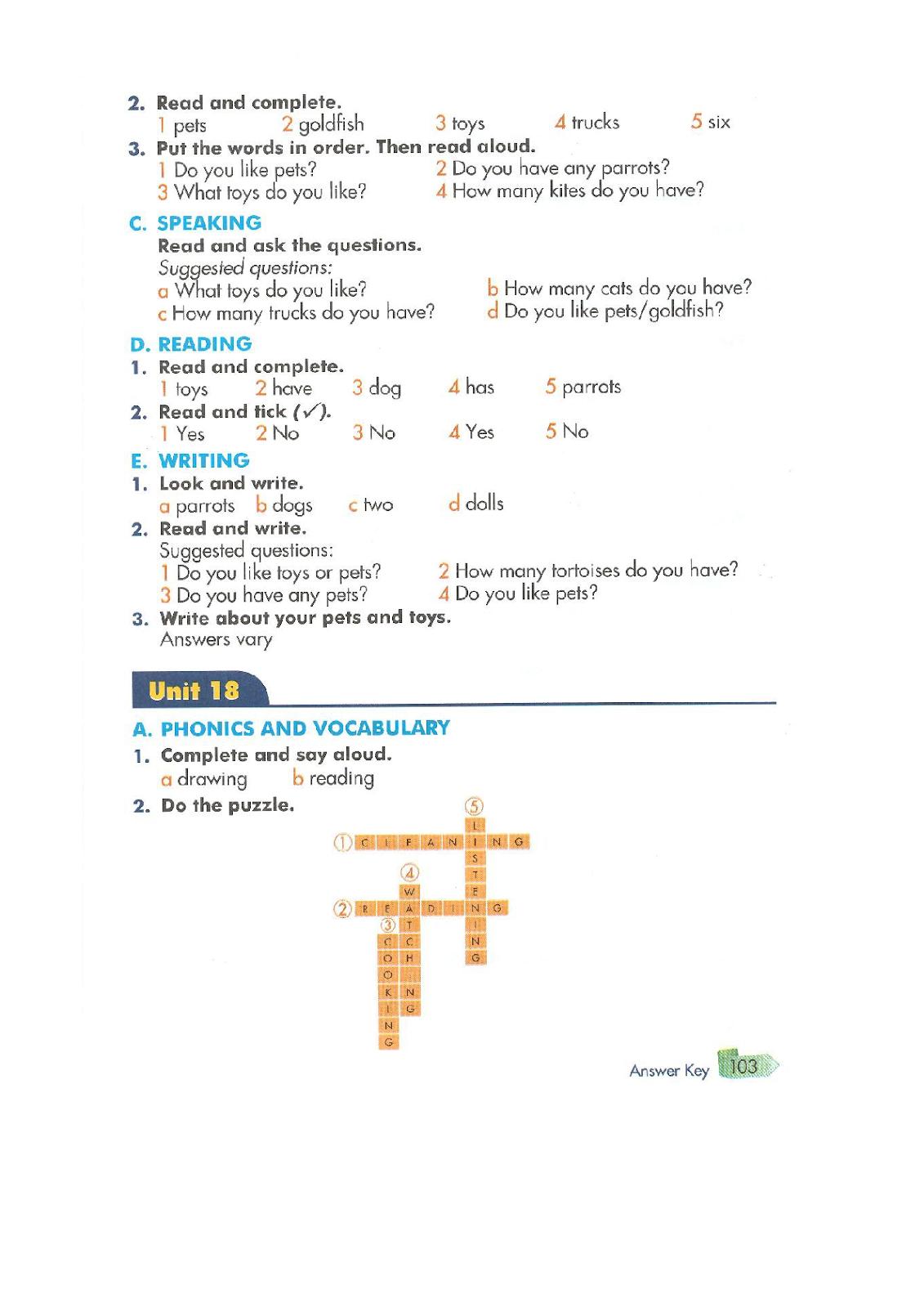 Answer Key - Sách Bài Tập Tiếng Anh Lớp 3 - Sách Lớp 3
