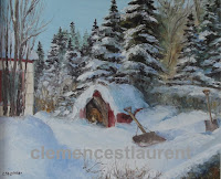 Shoveler's break, 10 x 12 oil painting by Clemence St. Laurent, showing a beagle in her doghouse with a shovel leaning on it
