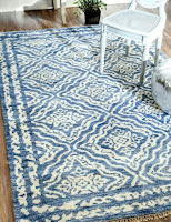 Satara silk blue rug for contemporary living room idea