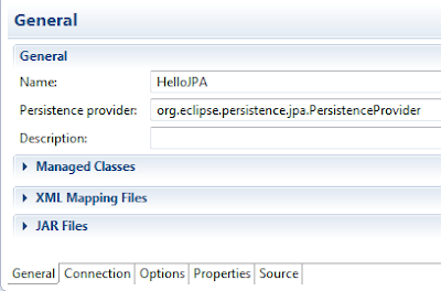 adding Persistence provider in General tab
