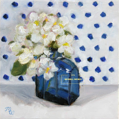 Original oil painting with a cobalt blue bottle and sweet white flowers against a blue and white polka dotted background!
