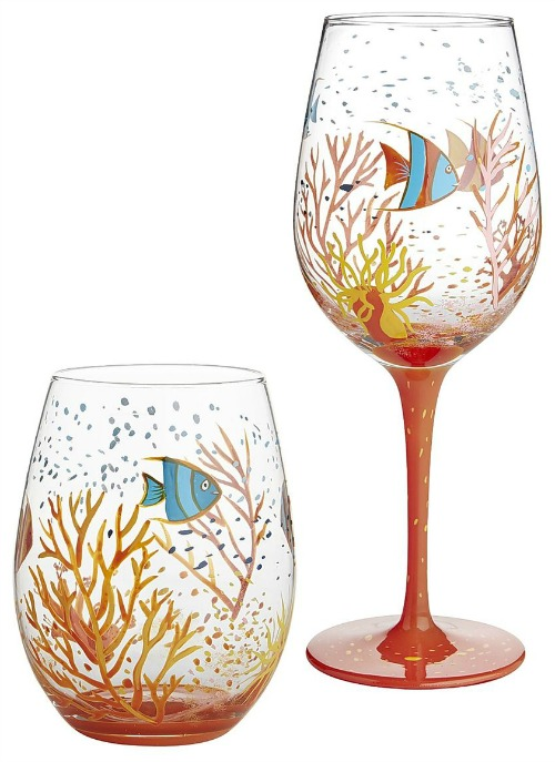 Beautiful coastal nautical drinking glasses with a for Painting while drinking wine