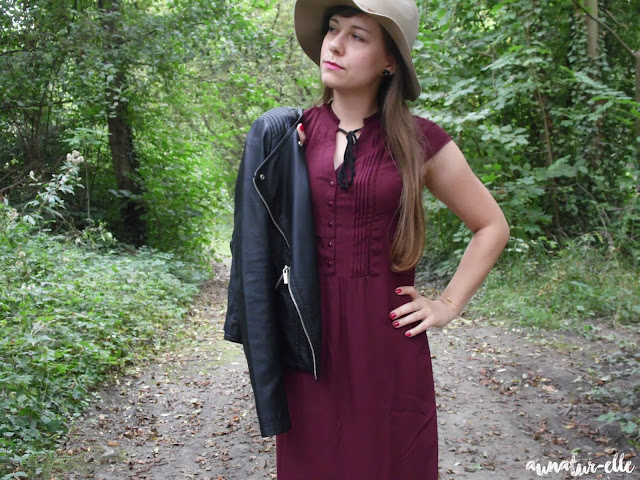 Welcom fall 🍃 : perfecto & burgundy dress