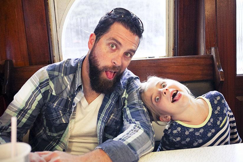 David West and daughter enjoy dinner in the Streamliner