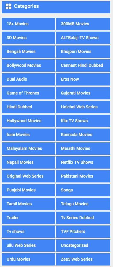 9XMovies Categories