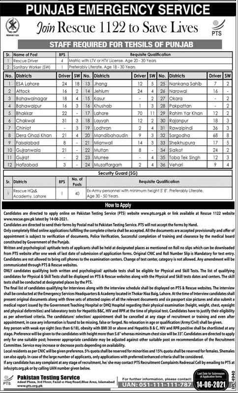 Punjab Emergency Service Rescue 1122 Jobs 2021 in Pakistan - Rescue 1122 Jobs 2021 Punjab