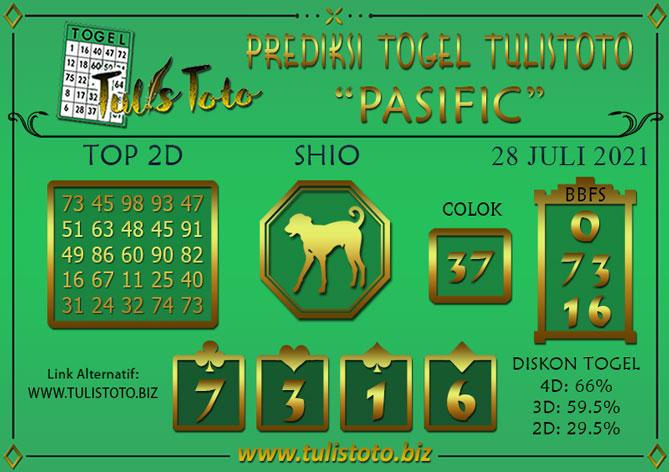Prediksi Togel PASIFIC TULISTOTO 28 JULI 2021