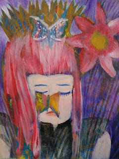 Girl with pink hair and butterflies acrylic painting