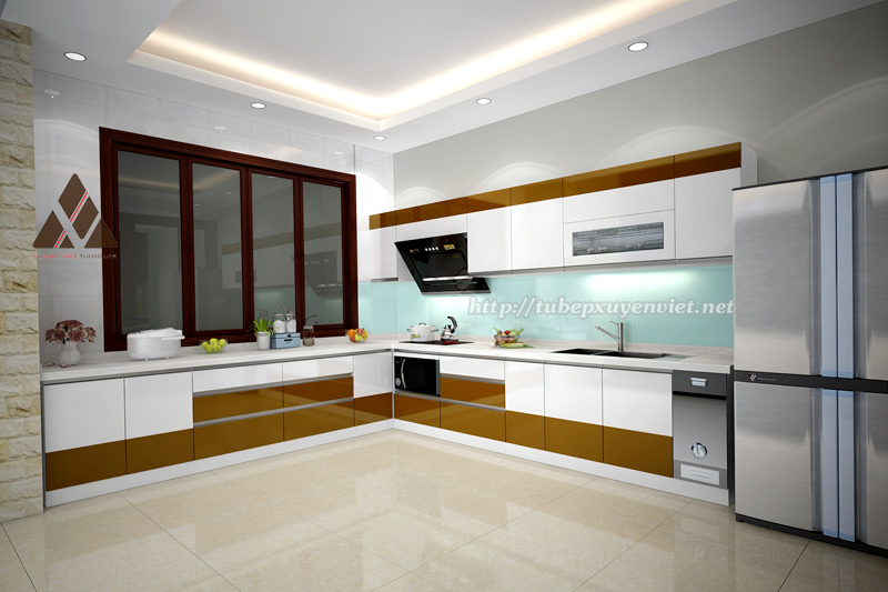 Tủ bếp đẹp làm bằng nhựa pvc thay thế tủ bế gỗ