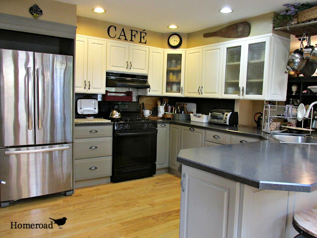 View of updated kitchen with painted cabinets