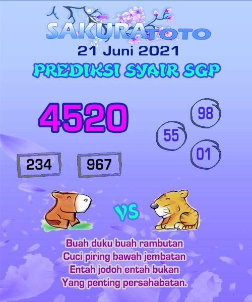 Syair Sakuratoto Singapore Senin 21 Juni 2021