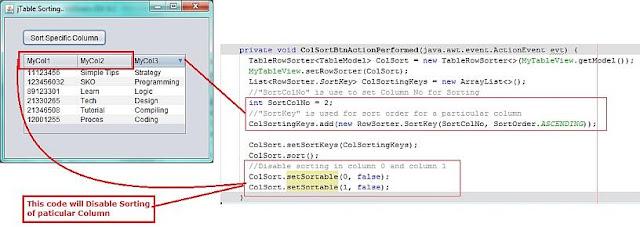 Disable Column Sorting in jTable in Java